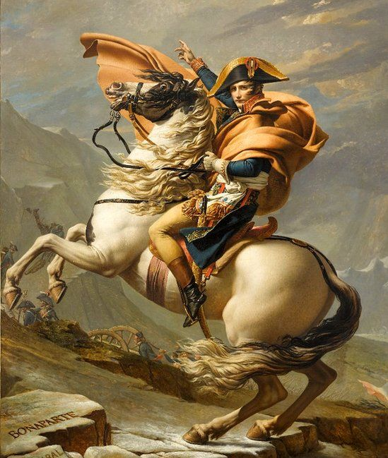 Bonaparte crossing the St Bernard Pass - a painting by Jacques-Louis David