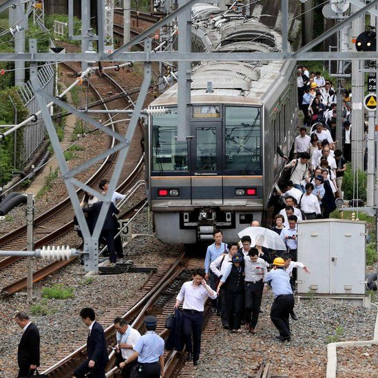 Passengers evacuated from a train