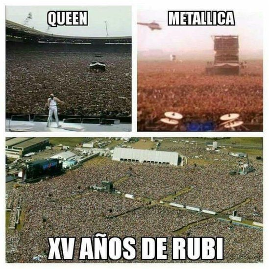 """A composite picture shows crowds attending Queen and Metallica concerts with a third one reading """"Rubi's 15th birthday party"""""""