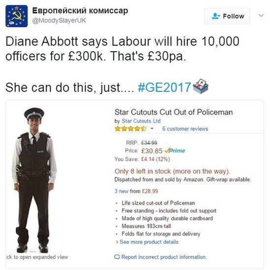 Diane Abbott says Labour will hire 10,000 officers for £300k. That's £30pa.