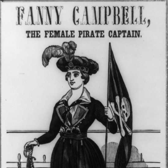 The cover of the 1844 novel, Fanny Campbell The Female Pirate Captain