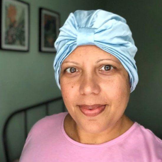 Woman in silk hair wrap