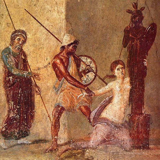 Painting: Ajax the Lesser drags Cassandra away from the Xoanon, 1st H. 1st cen. AD. Roman-Pompeian wall painting.