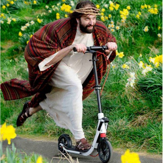 Jesus on a scooter