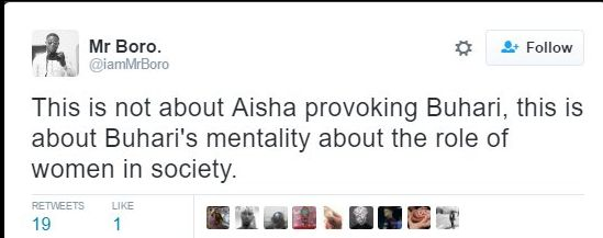 """Tweet saying """"This is about BUhari's mentality about the role of women in society."""""""