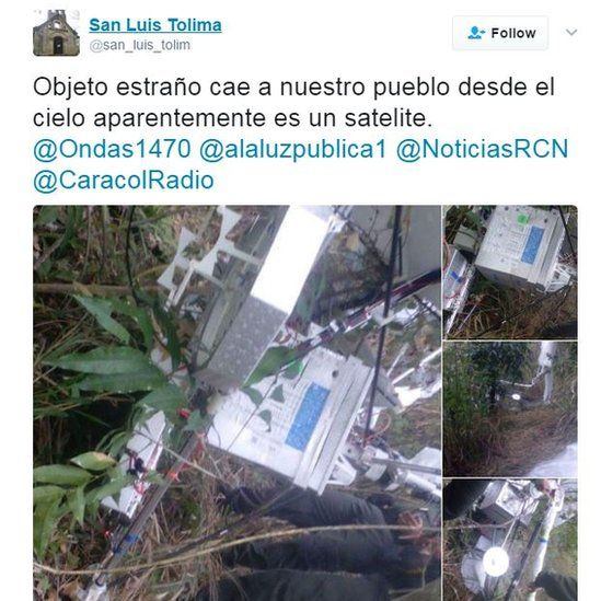 """A screen grab of a tweet reading: """"Strange object which fell onto our village from the sky is apparently a satellite""""."""