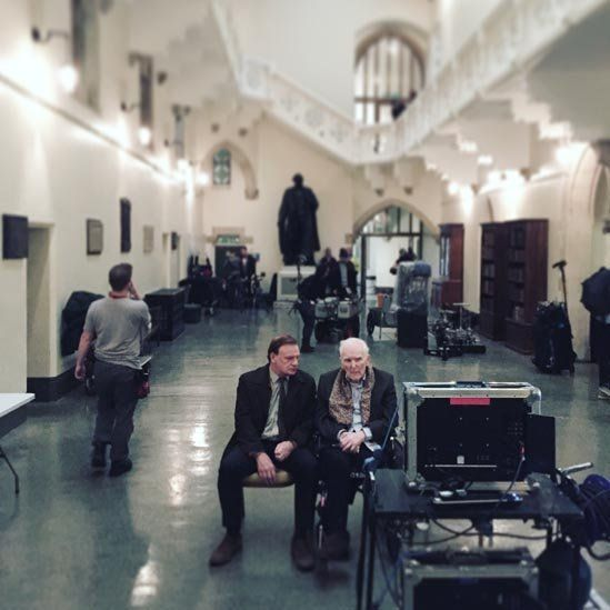 Mark Lewis Jones and Tedi Millward on the set of The Crown in Aberystwyth