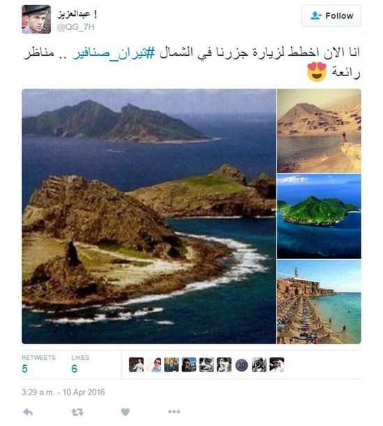 "Tweet by @QG_7H reading: ""Now I'm planning a visit to our islands in the north, Tiran and Sanafir... Lovely views""."