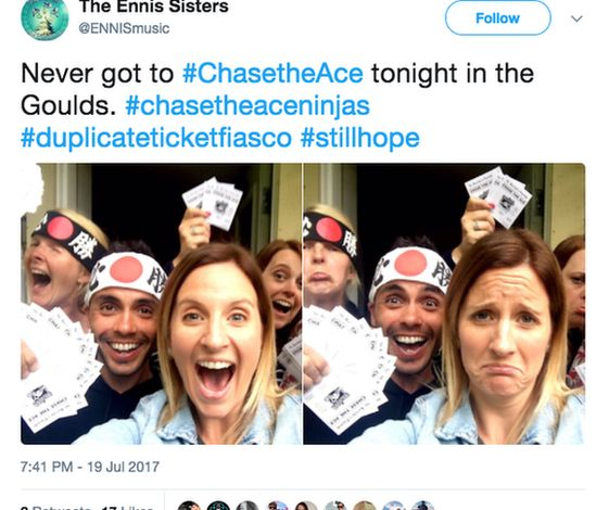 Tweet about Chase the Ace being postponed