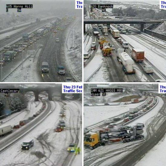 Traffic disruption on the M80