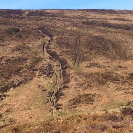 Improvised paths have caused scarring on Ruabon moors