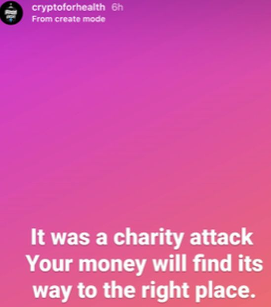 Instagram post on Cryptoforhealth account