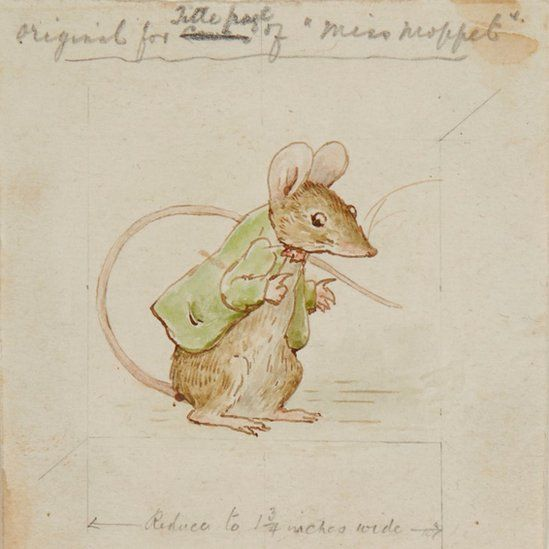 Original watercolour study of Miss Moppet's mouse