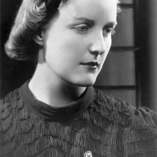 Unity Mitford wearing a swastika badge