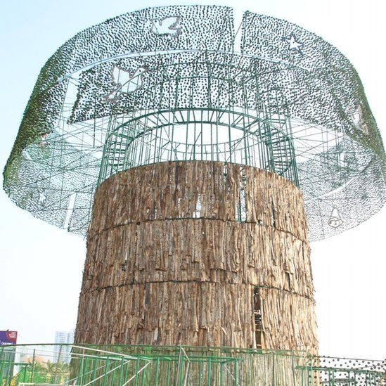 The under-construction artificial Christmas tree