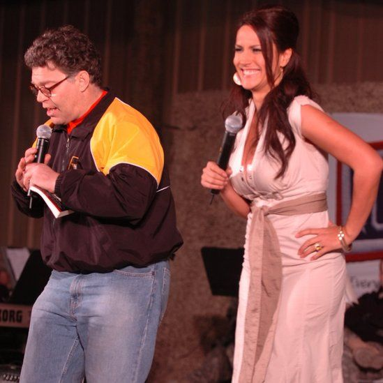 Pentagon photos of the 2006 Hope & Freedom Tour in Kuwait show the two performing a skit