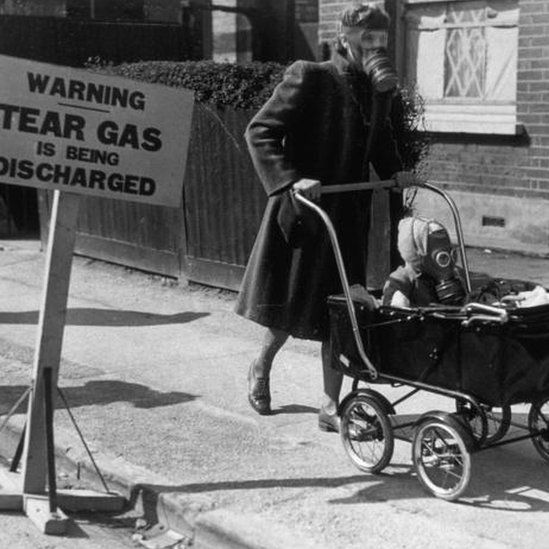 A tear gas exercise in England in 1941