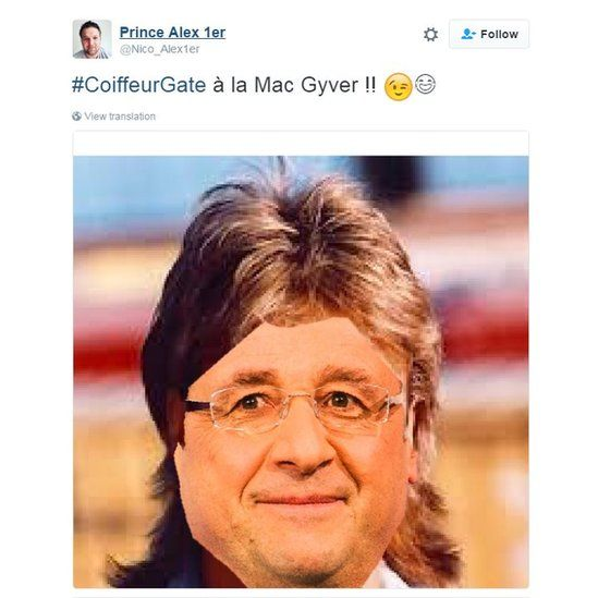 Pic of Hollande with hair like McGyver