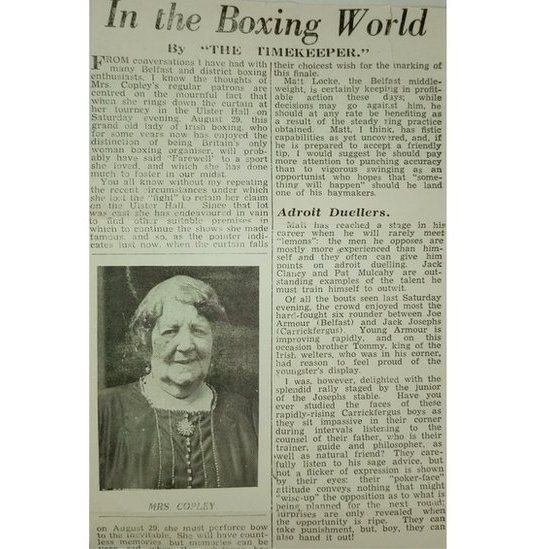 Ma Copley's success as a boxing promoter was headline news