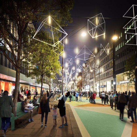 Artist impression of what the pedestrianised area of Oxford Street will look like