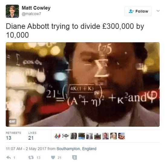 Diane Abbott trying to divide £300,000 by 10,000