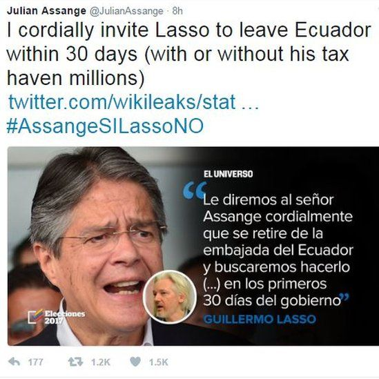 """Tweet by Julian Assange reading: """"I cordially invite Lasso to leave Ecuador within 30 days (with or without his tax haven millions)"""