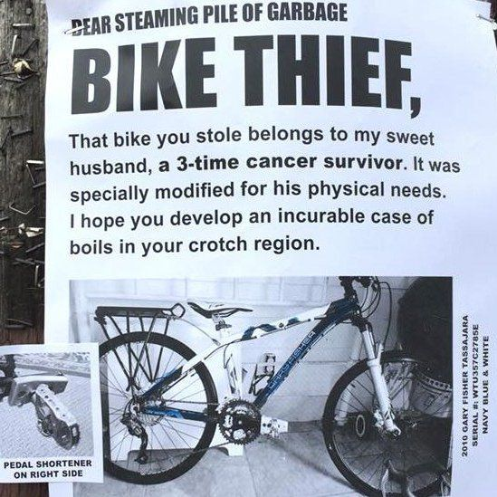 The poster Shannon made addressed to the bike thief