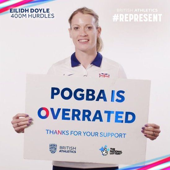 Eilidh Doyle holds a sign superimposed with the slogan: Pogba is overrated
