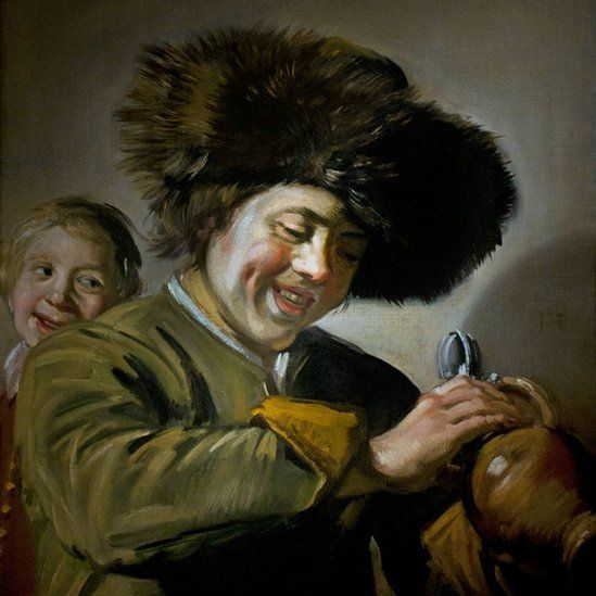 Two Laughing Boys with a Mug of Beer by Dutch artist Frans Hals