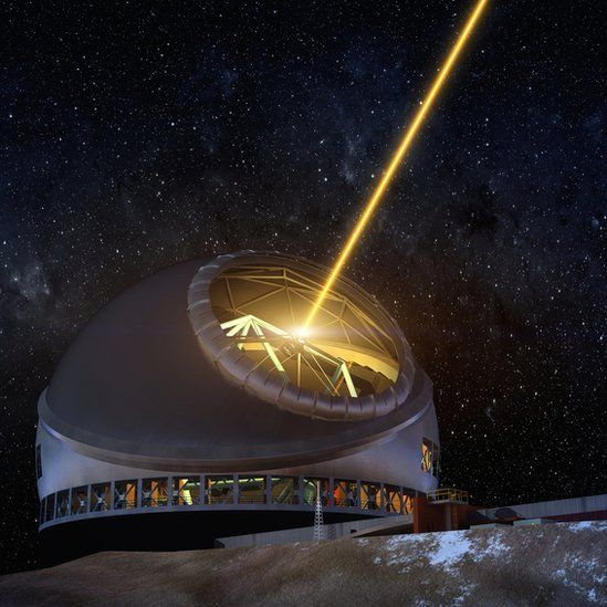 Artist rendition of telescope with active guide laser