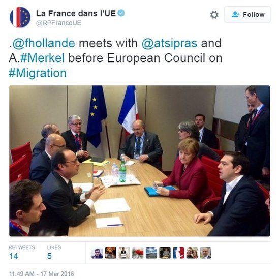 Screengrab of tweet from @RPFranceUE showing photo of Merkel, Hollande, Tsipras