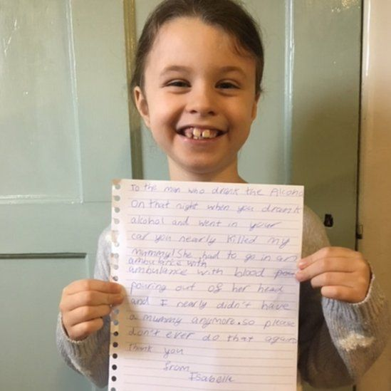 Isabelle with her letter