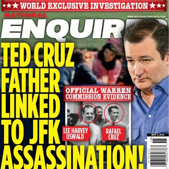 Recent cover of the National Enquirer