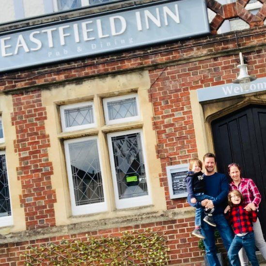 Graham Anderson and Sharon Stanton outside the closing Eastfield Inn