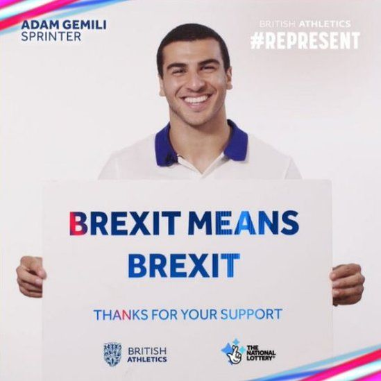 Adam Gemili holds a sign superimposed with the slogan: Brexit means Brexit