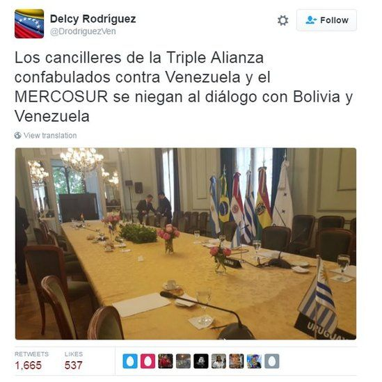 """Tweet by Delcy Rodriguez reading: """"The foreign ministers of the Triple Alliance collude against Venezuela and Mercosur by refusing to enter into dialogue with Bolivia and Venezuela."""