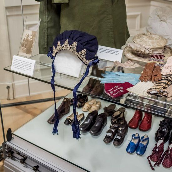Old hats and shoes on display