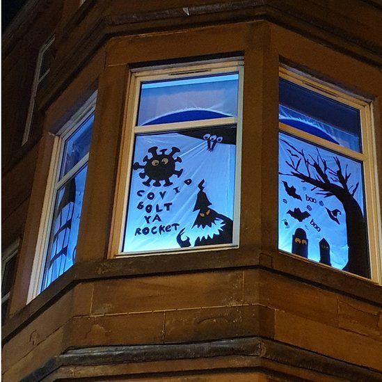 Coronavirus Halloween window display