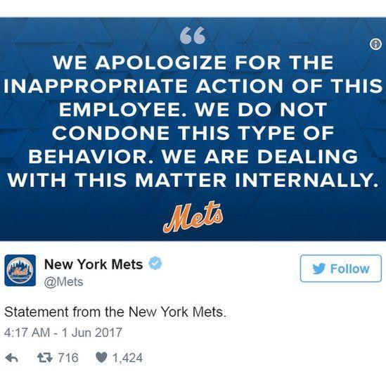 Screen grab of tweet by @Mets