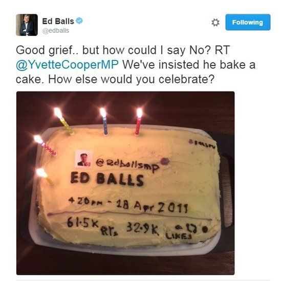 Good grief...but how could I say No? RT @YvetteCooper We've insisted he bake a cake. How else would you celebrate #EdBallsday?
