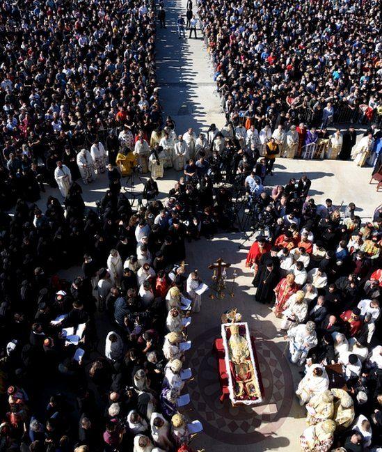 Faithful people attend the funeral of the Serbian Orthodox Church Metropolitan bishop of Montenegro, Metropolitan Amfilohije (Radovic) in Podgorica, Montenegro, 01 October 2020
