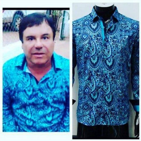 Screenshot of the Barabas Facebook page showing one of its shirts and a picture from a video released by Rolling Stone showing Guzman