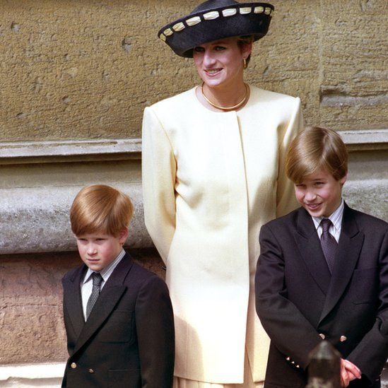 Prince Harry and Prince William with Diana, Princess of Wales on 19 April 1992