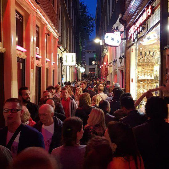 Amsterdam red-light district crowd