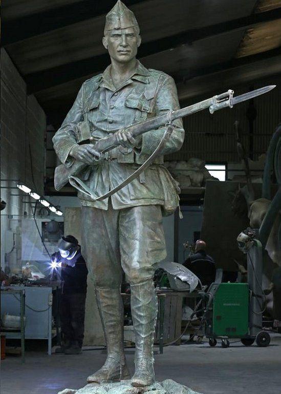 The bronze legionnaire statue