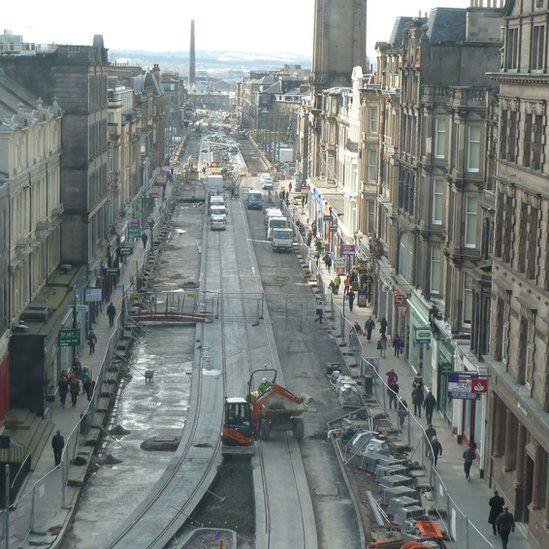 Tram works in Edinburgh