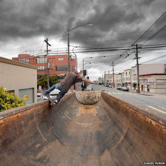 Skateboarding in a dumptruck