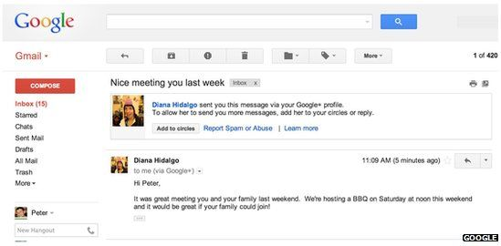 Messages from Google+ connections will go directly to Gmail users' inboxes