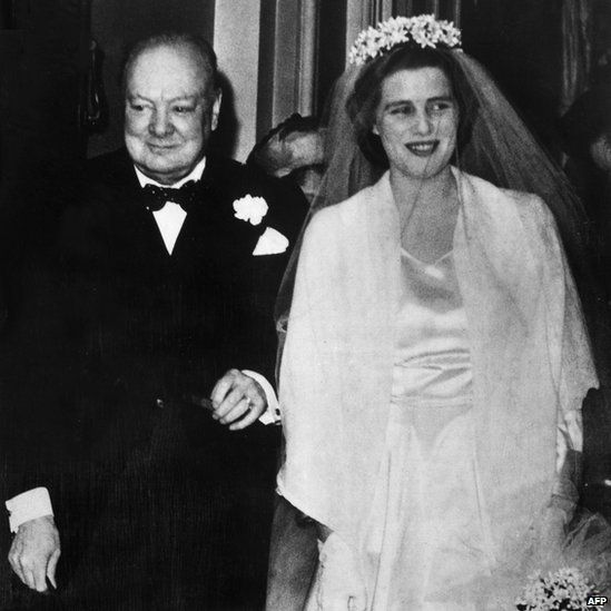 Winston Churchill walking his daughter down the aisle in Westminster Abbey