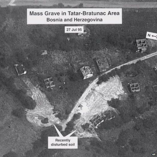 Aerial photo of mass graves around Srebrenica shown as evidence during the trial of Bosnian Serb Army Gen Radislav Krstic on 25 May 2000 at the Yugoslav War Crimes tribunal in The Hague.
